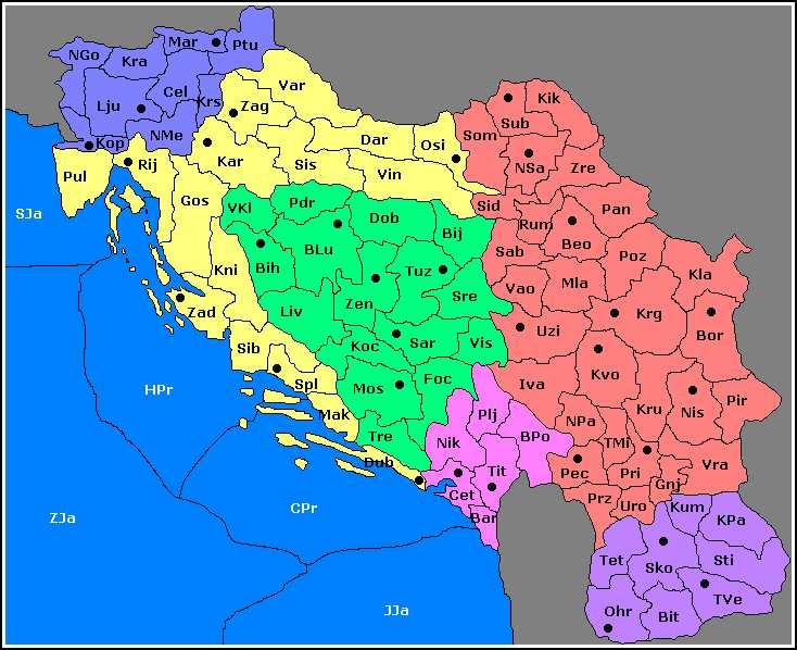 mapa jugoslavije Mapa mapa jugoslavije